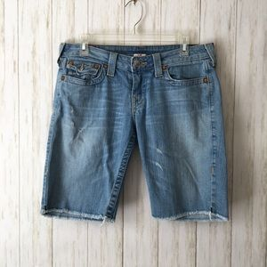 "true religion 10"" Insm Raw Hem Burmuda Jean Shorts"
